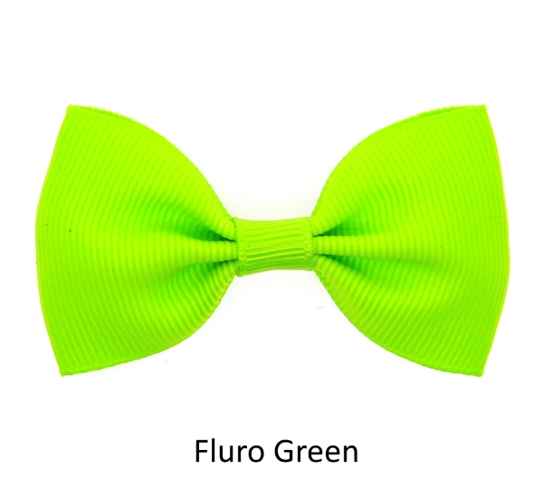 fluro green baby girl hair clips mini bow