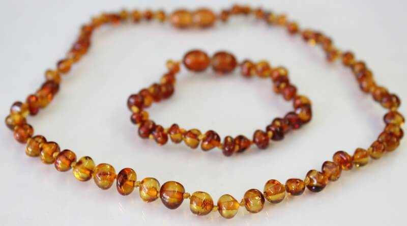 cognac amber necklace for mum and baby