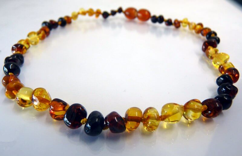 rainbow amber teething necklace